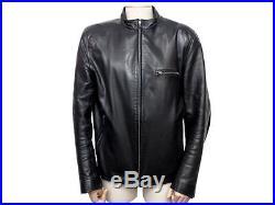 Veste Agnes B Blouson En Cuir Noir Homme 48 M Biker Black Jacket Coat 1500