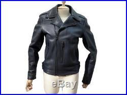 Veste Balenciaga Blouson De Moto Motard 46 S Cuir Bleu Blue Leather Jacket 1795
