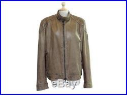 Veste Belstaff 50 M En Cuir Marron Blouson De Moto Motard Leather Jacket 1225