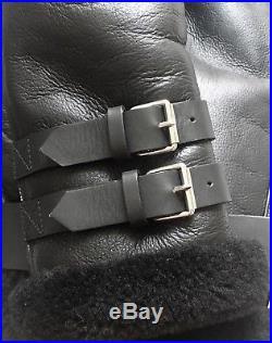 Veste Blouson ACNE STUDIOS VELOCITE Cuir Noir Black Jacket Coat Shearling 34/36