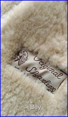 Veste Blouson Bombardier Cuir Mouton Véritable Shearling Marron Foncé 42 44