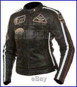Veste Blouson Cuir Moto Femme, Vintage, Cafe Racer, Retro, Rocker, Femme Blouson