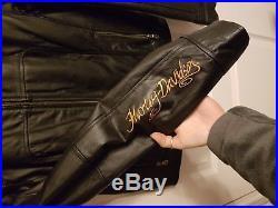 Veste Blouson Cuir Noir Femme HARLEY DAVIDSON Taille S