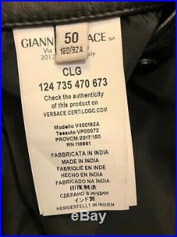 Veste Blouson Cuir Noir Versace Collection Classique Comme Neuf T 50