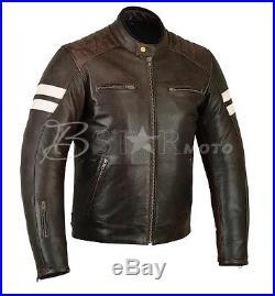 Veste, Blouson Cuir Pour Moto, CAfe RAcer, Vintage, MArron, Noir, Lederjacke