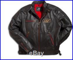 Veste Blouson Cuir Warson Motors motorcycle noir zip rouge custom racer harley M