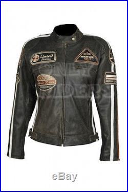 Veste Blouson EN Cuir Pour Femme, Biker, Blouson Pour Moto, Motorbike, Taille 42