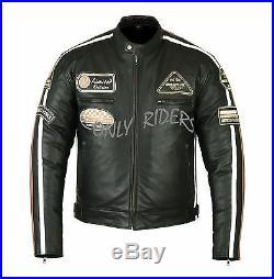 Veste Blouson En Cuir Moto Homme, Chopper, Retro, Vintage, Chopper, Taille L