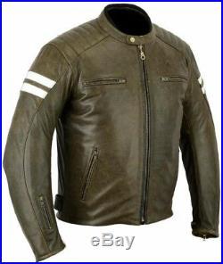 Veste Blouson En Cuir Moto Homme Vintage Cafe Racer Corse Sports Motard