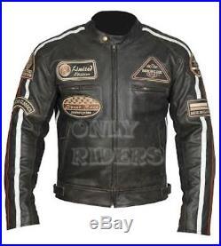Veste Blouson En Cuir Moto Homme Vintage Cafe Racer Jacke Blouson Rocker Retro
