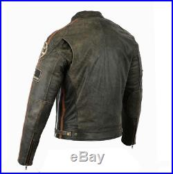 Veste Blouson En Cuir Moto Homme, Vintage, Cafe Racer, Leather Jacket L XL 2XL