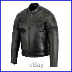 Veste Blouson En Cuir Moto Homme, Vintage, Cafe Racer, Leather Jacket, Noir