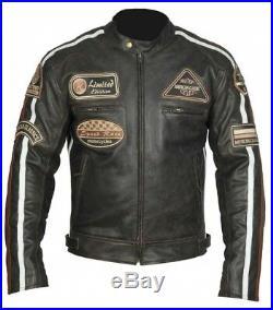 Veste Blouson En Cuir Moto Homme, Vintage, Cafe Racer, Leather Jacket, Rocker XL