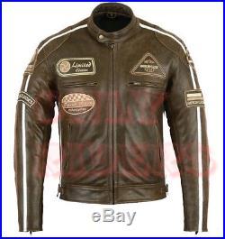 Veste Blouson En Cuir Moto Vintage Cafe Racer Lederjacke Rocker Retro MC Jacket