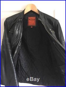 Veste Blouson En Cuir Noir Redskins Mouton Genuine Real Mojito Moto Taille M