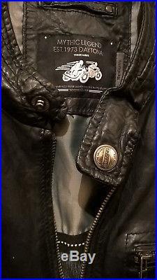 Veste Blouson Homme DAYTONA Cuir Bleu foncé-Noir Taille Medium
