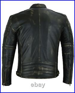 Veste Blouson Moto Cuir Homme Vintage Cafe Racer Leather Jacket Biker