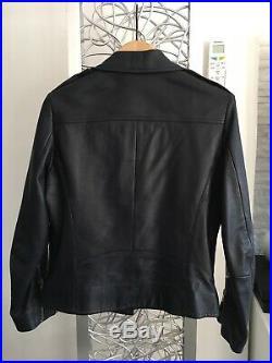 Veste Blouson Perfecto en cuir bleu foncé SANDRO T2 Val399 Comme Neuf