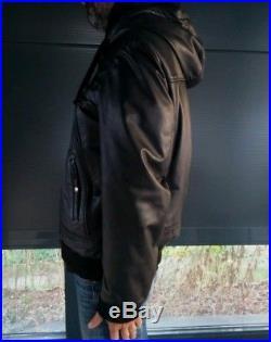 Veste Blouson SCHOTT Cuir A Capuche T L Noir Men Motard Aviateur Teddy IDN6875