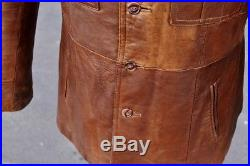 Veste Blouson blazer cuir marron véritable vintage années 70 original Taille L