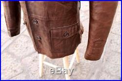 Veste Blouson blazer cuir marron véritable vintage années 70 original Taille M