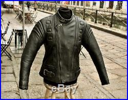 Veste Blouson de moto en cuir motard biker cafe racer custom vintage taille M