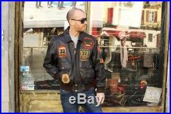 Veste Blouson en cuir aviator, modèle top gun, vintage des années 70, taille L