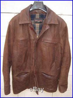 Veste CHEVIGNON en cuir marron blouson manteau M