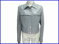 Veste Celine Blouson Taille 42 L En Cuir Gris Grey Leather Jacket 1950