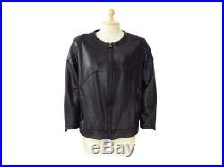 Veste Chanel Blouson P35814 En Simili Cuir De Lezard T 44 XL Noire Coat Jacket