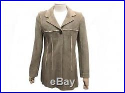 Veste Chanel P09881 40 M En Cuir De Cerf Marron Manteau Blouson Jacket 4500