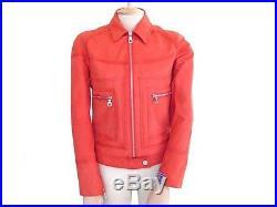 Veste Chanel P19445 M 38 Blouson Biker En Cuir Orange Leather Jacket 9200