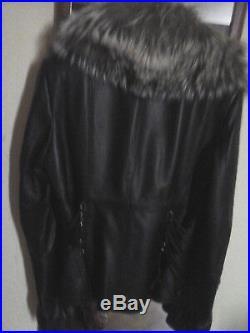 Veste Cintre Blouson Cuir Agneau Plonge Col Fourrure Noir 38/40