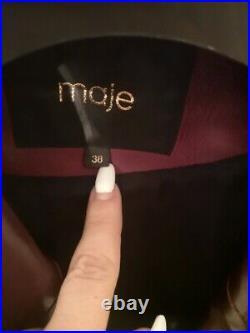 Veste Cuir Couleur Bordeaux Violine Maje Blouson 38 Femme Fille Mode