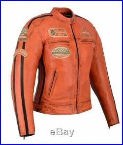 Veste Cuir Femme, Blouson Moto, Custom, Orange, Biker Veste, Style Harley Retro