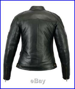 Veste Cuir Femme, Blouson Moto, Vintage, Noir, Biker Veste, CE, Kustom, Retro