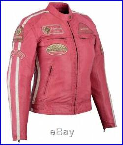 Veste Cuir Femme, Blouson Pour Moto, Vintage, Rose, Biker Veste, Kustom, Retro