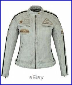 Veste Cuir Moto Femme Vintage Cafe Racer Jacke Blouson Rocker Retro Blanc Gris