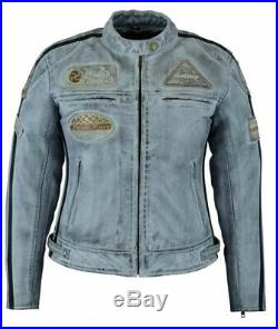 Veste Cuir Moto Femme Vintage Cafe Racer Jacke Blouson Rocker Retro Bleue