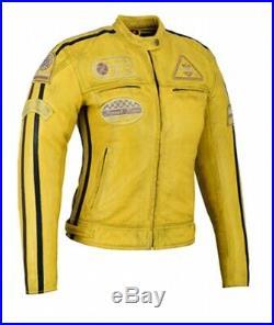 Veste Cuir Moto Femme Vintage Cafe Racer Jacke Blouson Rocker Retro Jaune