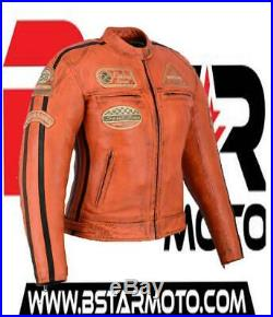 Veste Cuir Moto Femme Vintage Cafe Racer Jacke Blouson Rocker Retro Orange