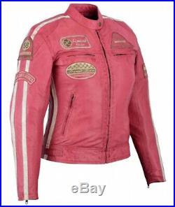 Veste Cuir Moto Femme Vintage Cafe Racer Jacke Blouson Rocker Retro Rose