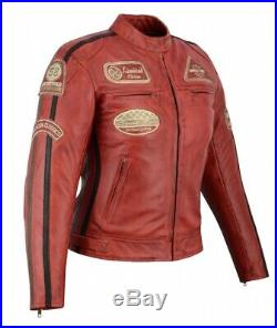 Veste Cuir Moto Femme Vintage Cafe Racer Jacke Blouson Rocker Retro Rouge
