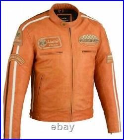 Veste Cuir Moto Homme, Vintage, Cafe Racer, Blouson Cuir, Rocker Retro Orange