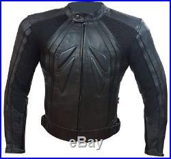 Veste De Moto Homme en Cuir Protections CE Amovibles Blouson De Course Sport