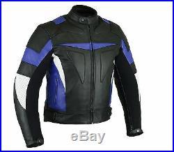 Veste De Moto Hommes Motocyclette Veste En Cuir cuir S bis3XL Noir/blanc/bleu