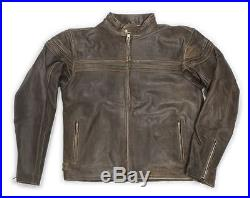 Veste En Cuir Biker Jacke marron antique Blouson motard Cowboy De L'ouest