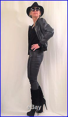 Veste En Cuir Court Celine Blouson Sans Doubleure T 38 Neuf Noir
