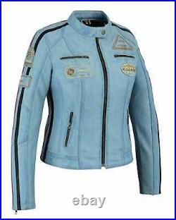 Veste En Cuir Femme, Couleur Jean, Style Moto, Blouson Cuir, Rocker, Biker Veste
