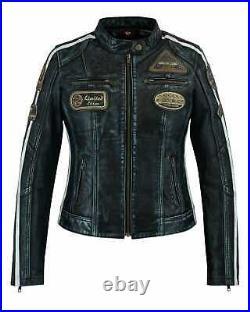 Veste En Cuir Femme, Vintage, Veste Femme, Blouson Cuir, Rocker, Biker Veste